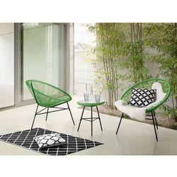 Beliani Meble ogrodowe zielone - balkonowe - stół z 2 krzesłami - acapulco