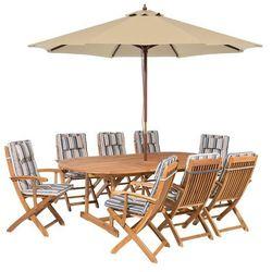 Zestaw ogrodowy drewniany poduchy niebiesko-beżowe parasol MAUI (4260602370789)
