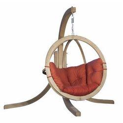 Fotel wiszący drewniany ze stojakiem - Bubble Wood Red