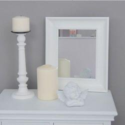 Design by impresje24 Lustro, prostokątna, drewniana rama, kolor biały.
