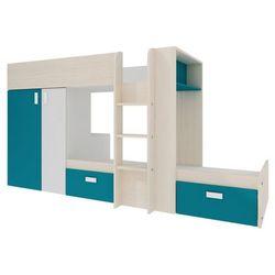 Łóżko piętrowe julien – 2 × 90 × 190 cm – szafa – kolor sosna biała i niebieski marki Vente-unique