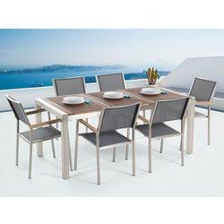 Meble ogrodowe - stół ze stali nierdzewnej 180 cm drewnianym blatem z 6 szarymi krzesłami - GROSSETO - produkt z kategorii- Zestawy ogrodowe