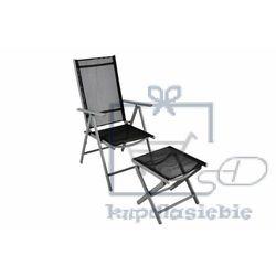 Komplet krzesło aluminiowe rozkładane ogrodowe z podnóżkiem - taboretem marki Garthen