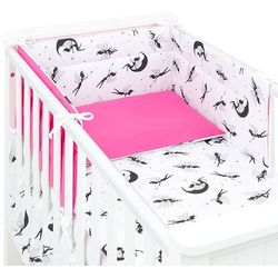 Mamo-tato 3-el dwustronna pościel dla niemowląt wróżki czarne / ciemny róż do łóżeczka 60x120cm