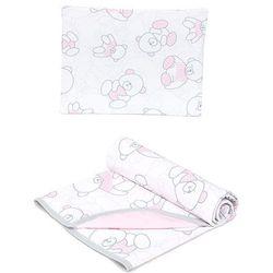 letni kocyk dla niemowląt z poduszką baby velvet misie różowe / jasny róż marki Mamo-tato