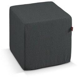pokrowiec na pufę kostke, grafitowy szenil, kostka 40 × 40 × 40 cm, chenille marki Dekoria