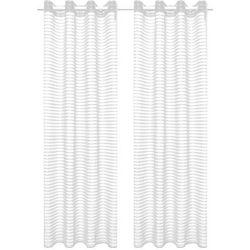Tkane zasłony w paski, 2 szt., 140 x 245 cm, białe marki Vidaxl