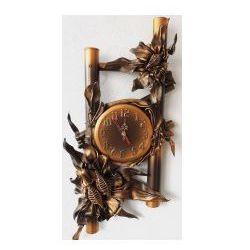 Art deco Zegar scienny ze skóry brąz+złoto - b16-6