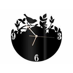 Zegar z pleksi na ścianę Ptaszek na gałązce ze złotymi wskazówkami, kolor czarny