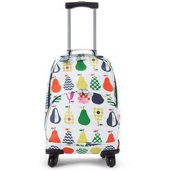 Penny Scallan Design, walizka na czterech kółkach, biało-granatowa w gruszki - produkt z kategorii- Walizec