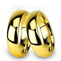 Obrączki Ślubne z pozłacanego Tistenu - komplet. Klasyczny półokrągły kształt.