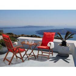 Beliani Meble ogrodowe - balkonowe - drewniane - stół z 2 krzesłami z 2 jasnoceglastymi poduchami - toscana