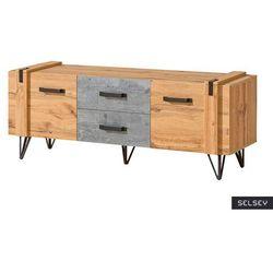 SELSEY Szafka RTV Berace 135 cm z szufladami dąb/beton (5903025586236)