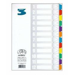 Przekładki kartonowe laminowane A4 1-12 kolorowe, 5901878230733