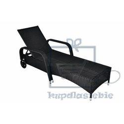 Luksusowy polyratanowy leżak ogrodowy na kołeczkach kremowy (4025327364068)