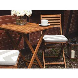 Beliani Stół z krzesłami do ogrodu z szaro-beżowymi poduszkami w zygzaki fiji (7105273702095)