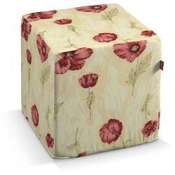 pufa kostka twarda, bordowe maki, kremowe tło, 40x40x40 cm, flowers marki Dekoria