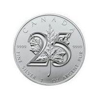 1 uncja Kanadyjski Srebrny Liść Klonowy - 25-Lecie Emisji - Srebrna Moneta