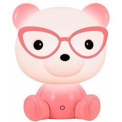 Lampka nocna dziecięca zwierzak polux miś okularnik 1x2,5w led różowa, 3 poziomy świecenia 308245 marki Sanico