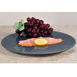 Ozdobny czarny talerz obrotowy ze szkła, deska obrotowa, patera na ciasto, patera na owoce, talerz na przeką