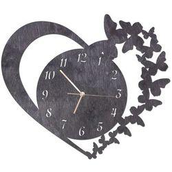 Drewniany zegar na ścianę serce z motylkami ze złotymi wskazówkami marki Congee.pl