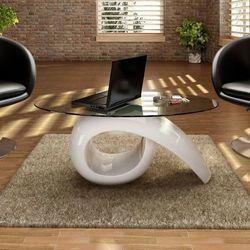 Biały stolik kawowy o owalnym, szklanym blacie, wysoki połysk