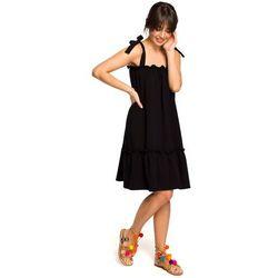Czarna luźna letnia sukienka wiązana na ramionach, Moe, 36-46