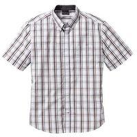 Koszula z krótkim rękawem w kratę Regular Fit bonprix biało-jasnoszary w kratę