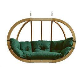 Fotel hamakowy dwuosobowy drewniany, Zielony Globo Royal green weatherproof