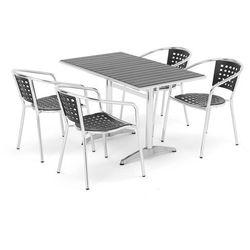 Zestaw mebli ogrodowych, stół + 4 krzesła, czarny marki Aj produkty