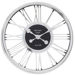 Chromowany zegar na ścianę w modernistycznym stylu, nowoczesny zegar, zegar do salonu, zegar kuchenny, zegar ścienny srebrny marki Home styling collection