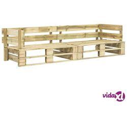 Vidaxl sofa ogrodowa z palet, 2 osobowa, zielone drewno fsc (8719883590929)