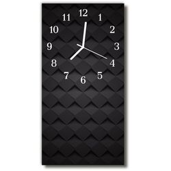 Zegar Szklany Pionowy Nowoczesny Mozaika 3d czarny