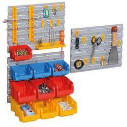 Zestaw ścian plastikowych z pojemnikami i uchwytami na narzędzia marki Allit