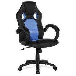 Beliani Krzesło biurowe niebieskie - obrotowe - skóra ekologiczna - rest