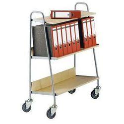 Wózek na segregatory z 2 półkami, dł. x szer. x wys. 850x350x1070 mm, srebrny /
