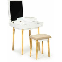 Modernhome Toaletka kosmetyczna, biurko, lustro i stołek, , 117 cm