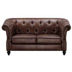 Sofa 2-osobowa w stylu Chesterfield AQUITAINE z mikrofibry o wyglądzie postarzonej skóry - Czekoladowy, kolor brązowy