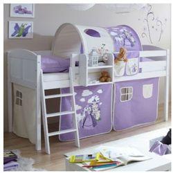Ticaa łóżko z drabinką eric, białe drewno sosnowe country konik kolor fioletowo-beżowy marki Ticaa kindermöbel