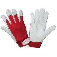 Rękawiczki LAHTI skórzane (L biało-czerwony)- wysyłamy do 18:30 (5903755055231)