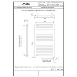 Thomson heating Grzejnik łazienkowy york - wykończenie proste, 600x1000, biały/ral