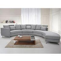 Półokrągła sofa tapicerowana - jasnoszara - tkanina obiciowa - ROTUNDE, kolor szary