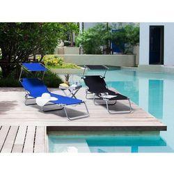 Leżak ogrodowy stalowy niebieski daszek regulowany foligno marki Beliani