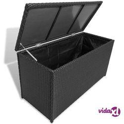 vidaXL Skrzynia ogrodowa, czarna, 120 x 50 x 60 cm, rattan PE (8718475501039)