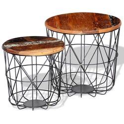 vidaXL 2 okrągłe stoliki kawowe z odzyskanego drewna 35 cm/45 cm (8718475944737)