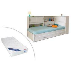 Vente-unique Łóżko basile cm z półkami i 2 szufladami modułowe 90 ×190 cm lub 90 × 200 cm - biały + materac zeus 90 × 190 cm