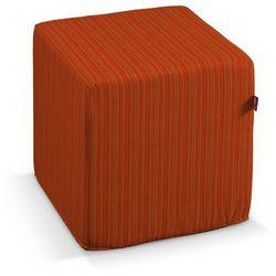 Dekoria  pufa kostka twarda, pomarańczowa prążkowana tkanina, 40x40x40 cm, wyprzedaż do -30%
