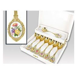Zestaw gold 6 łyż+1 łyż do cukru Bukiet Kwiatów mix box