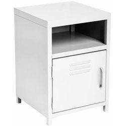 Biała szafka z metalu, szafka z półkami, stolik nocny, szafka nocna biała, szafka metalowa, meble do sypialni, sypialnia meble
