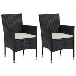 vidaXL Krzesła ogrodowe, 2 szt., polirattan, czarne, vidaxl_46179
